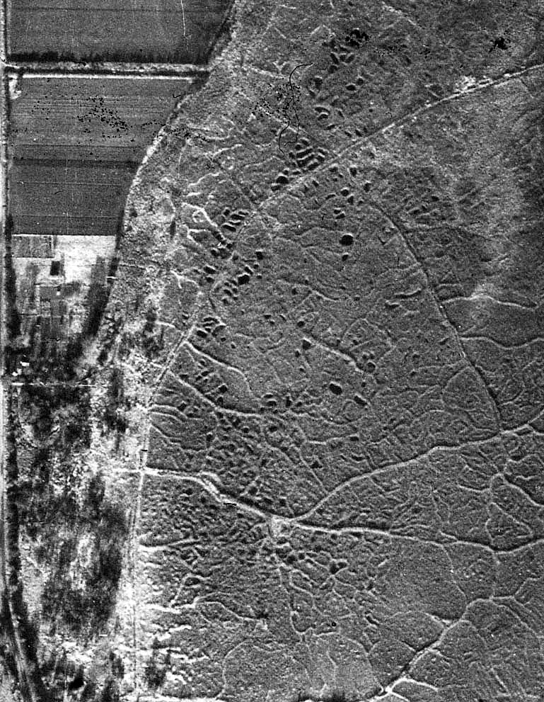 The surface of Little Fen in 1947 showing peat diggings and raised barrow ways